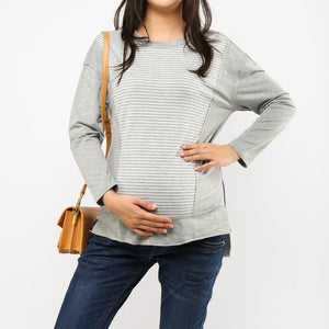 Striped Stitching Pullover Sweatershirt