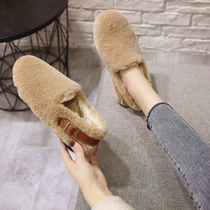 Winter Lovely Plain Artificial Wool Loafer With Buckle