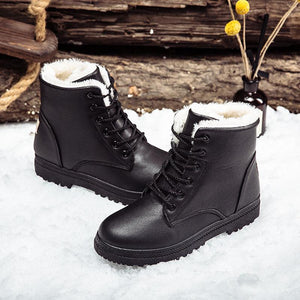 Winter Keep Warm Round Head Plain Strappy Floss Padded Snow Boots