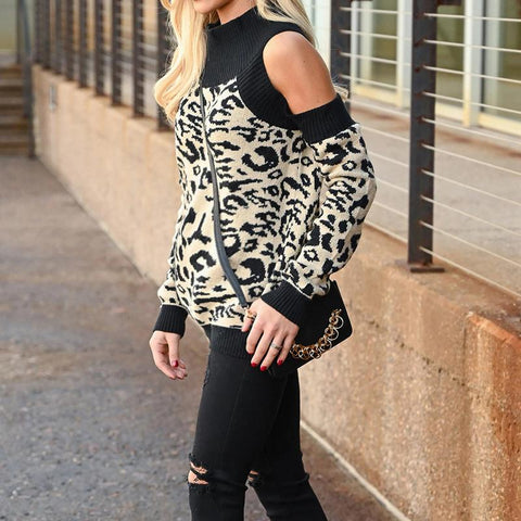 Maternity Leopard Print  Long Sleeve Round Neck Style Sweater
