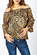 Maternity Leopard Printed Off Shoulder Flare Long Sleeve Sexy Blouse