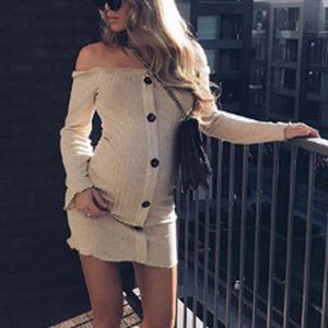 Maternity Solid Color Off Shoulder Long Sleeve Casual Dress