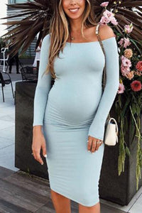 Maternity Off The Shoulder Sheath Midi Dress