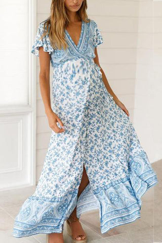 Maternity Printed With Short Sleeves Casual Long Dress