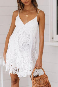 Maternity Spaghetti Strap Lace Short Dress