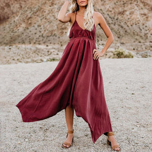 Maternity Solid Color V-Neck Backless Maxi Dress