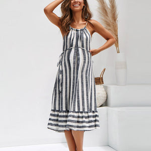 Maternity Halter Stripe Loose Falbala Dress