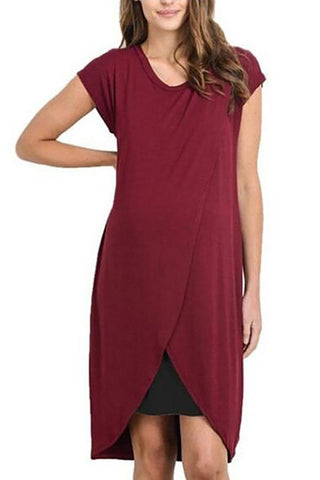 Maternity Round Neck Solid Color Nursing Dress