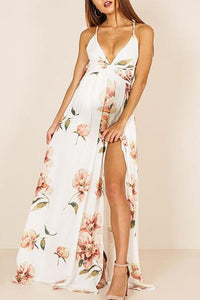 Maternity Sexy V-Neck Backless Printing Maxi Dress