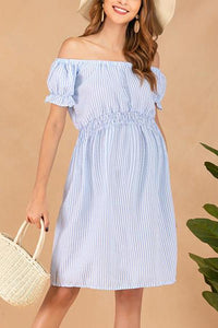 Maternity Off Shoulder Stripe Casual Above Dress