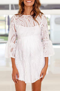 Maternity Backless Flared Sleeve Lace Dress