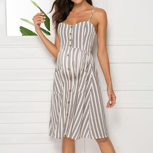 Maternity Spaghetti Strap Stripe Casual Dress
