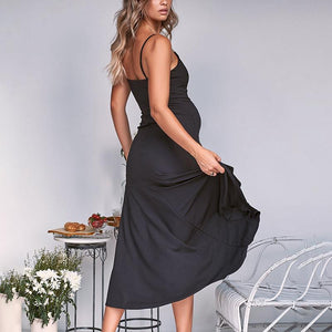 Maternity Sexy Backless Ruffle Sling Strap Dress