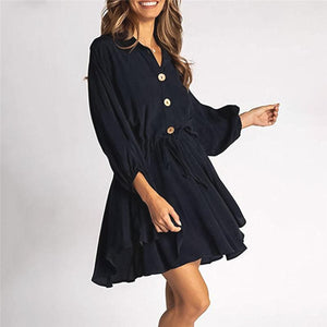 Maternity Lantern Long Sleeve Belt Dress