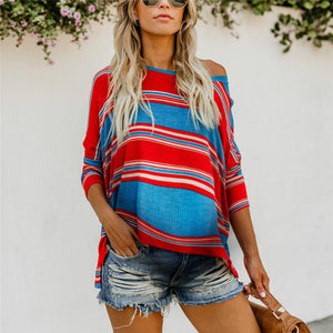Maternity Colorblock Striped Print Loose Top