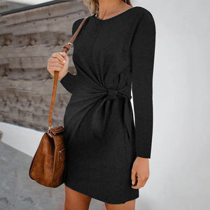 Maternity Fashion Round Neck Pure Colour Belted Dress