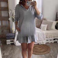 Maternity Casual Pure Color V Neck Ruffled Dress