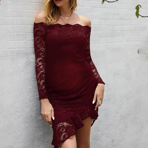 Maternity Temperament Celebrity Slim Wrap Chest Lace Long Sleeve Dress