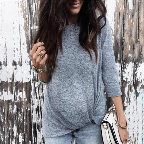 Maternity Solid Color Long Sleeve Knit Sweater