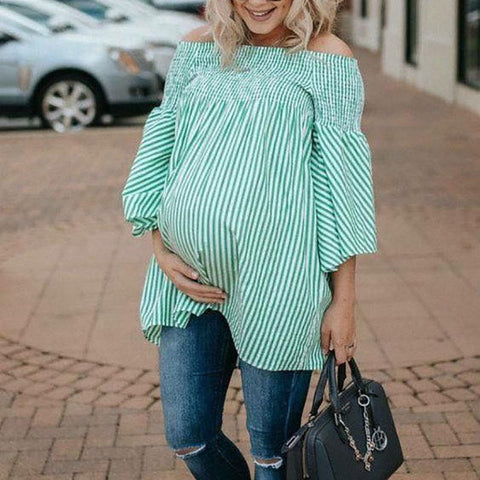 Maternity Casual Boat Neck Bishop Sleeve Stripe Top