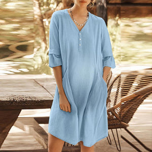 Maternity V Neck Pure Color Flounce Patchwork Dress