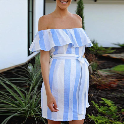 Maternity One-Neck Striped Ruffle Dress