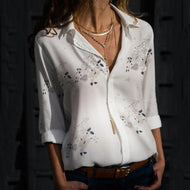 Maternity Casual Fold Collar Single-Breasted Printed Shirt