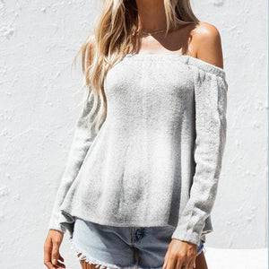 Maternity One-Shoulder Halter Knit Sweater