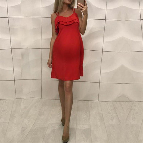Maternity Solid Color Ruffle Short Sling Dress
