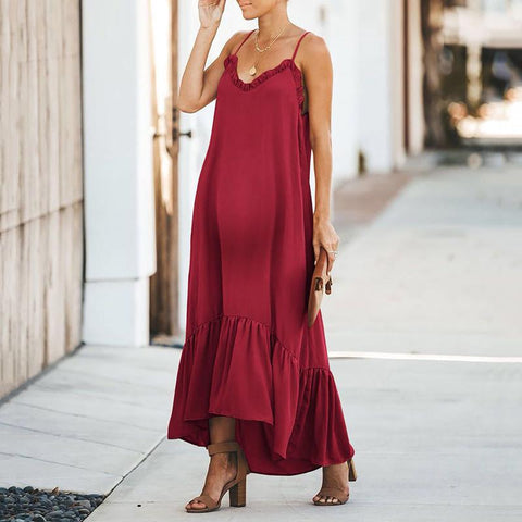 Maternity Casual Sling Solid Color Ruffled Irregular Long Dress