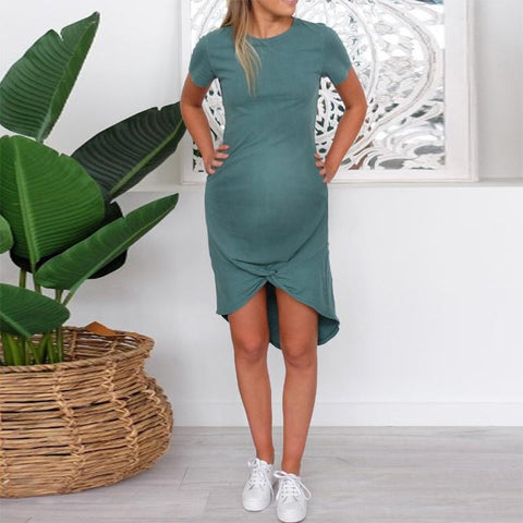 Maternity Casual Round Neck Short Sleeve Dress