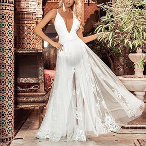 Maternity Fashion Deep V-Neck Backless Lace See Through Maxi Dress
