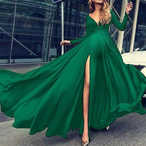 Maternity Sexy Solid Color Deep V-Neck Long Sleeve Split Maxi Dress