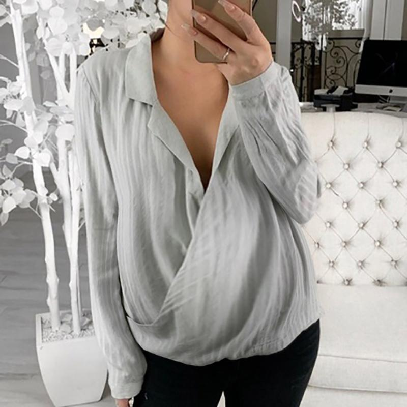 Maternity Brief Turndown Collar Pure Colour Long Sleeve Loose Blouse