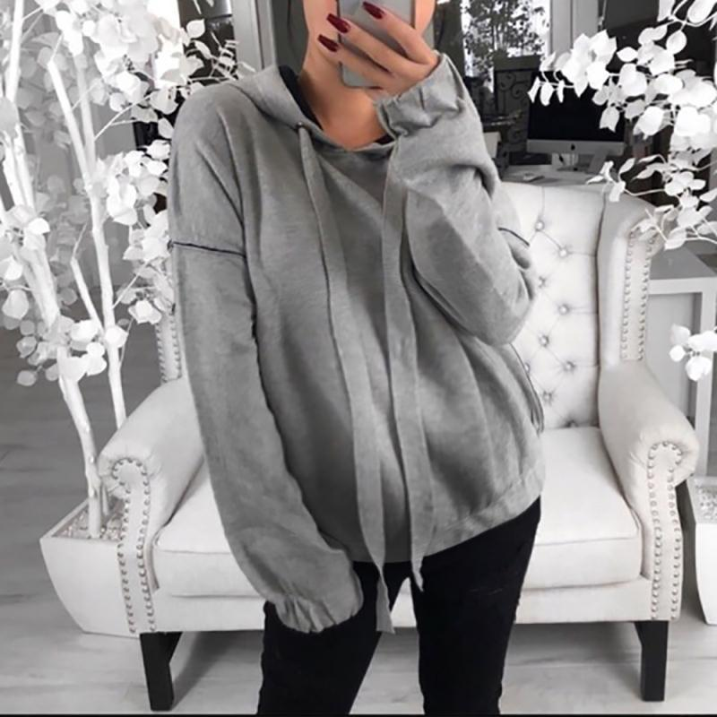 Maternity Brief Hooded Pure Colour Long Sleeve Sweatshirt