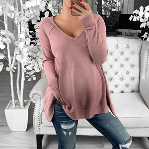Maternity Casual V Neck Pure Colour Long Sleeve Medium T-Shirt