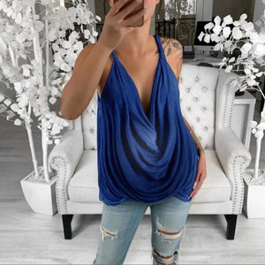 Maternity Sexy Sling V Neck Pure Colour Sleeveless Loose T-Shirt