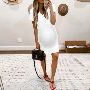 Maternity Brief V Neck Pure Color Short Sleeve Dress