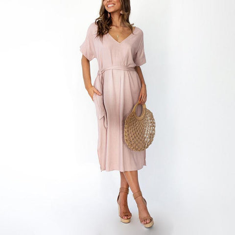 Maternity Casual V Neck Pure Colour Belted Dress