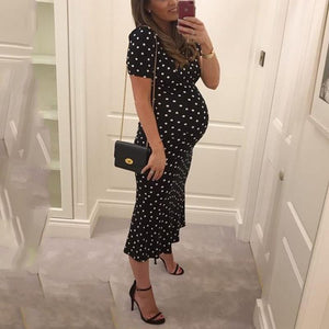 Maternity Simple Polka Dot Short-Sleeved Dress