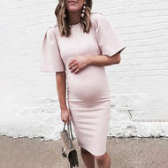 Maternity Cute Round Neck Pure Colour Short Sleeve Dress