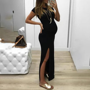 Maternity Brief Round Neck Pure Colour Dress