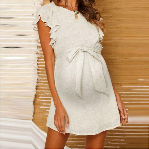 Maternity Fashion Short Sleeve Belted Bare Back Dress