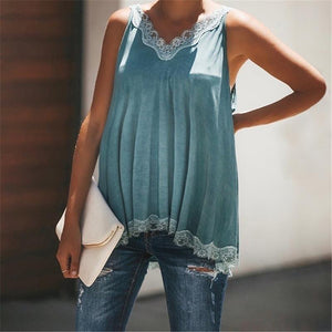 Maternity Solid Color Lace Stitching V-Neck Vest