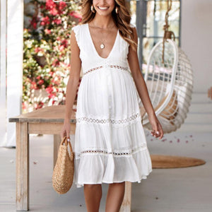 Maternity Sleeveless V-Neck Midi Dress