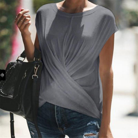 Maternity Short Sleeve Cross Solid Color Crew Neck T-Shirt