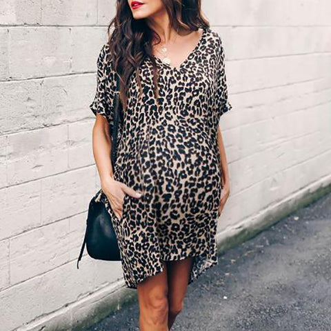 Maternity Casual V Neck Leopard Print Dress