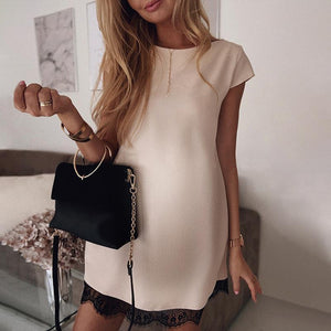 Maternity Casual Lace Pure Color Short Sleeve Dress