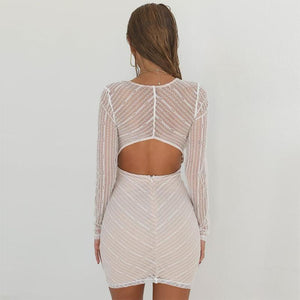 Maternity Sexy Lace Long Sleeve Bare Back Dress