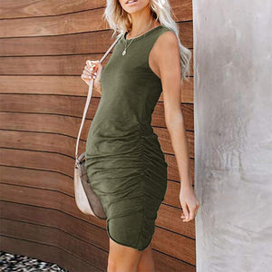 Maternity Brief Sleeveless Pure Color Dress